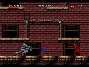 Les boss Rhino et Carnage dans le jeu Arcade's Revenge sur Super Nes