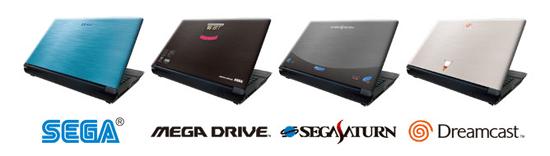 La ligne Sega Note PC avec MegaDrive, Saturn et Dreamcast