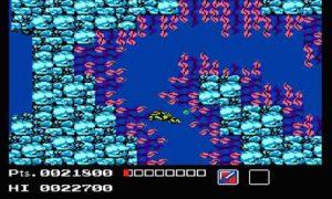 Le passage aquatique difficile dans le jeu Tortues Ninja sur NES