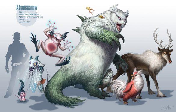 Artwork réalistes des Pokémon Blizarroi, Mr Mime et Cerfrousse par Arvalis