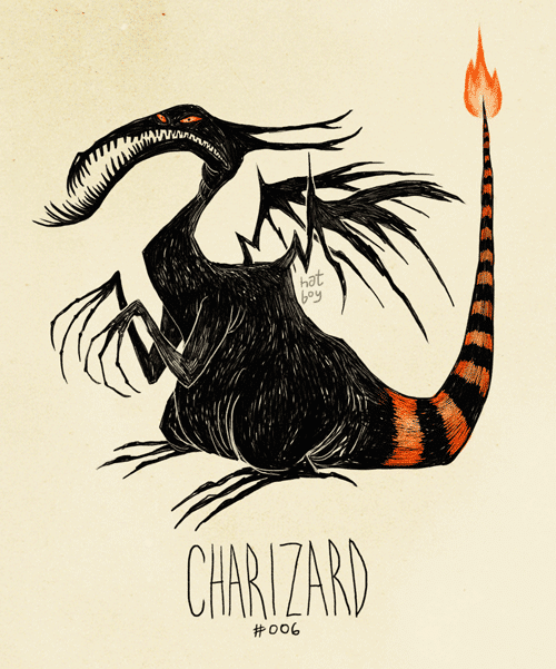 Le Pokémon Dracofeu en Tim Burton style