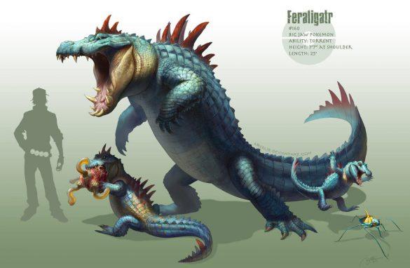 Artwork des Pokémon Kaiminus, Aligatueur et Crocrodil par Arvalis