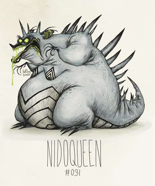 Le Pokémon Nidoqueen en Tim Burton style