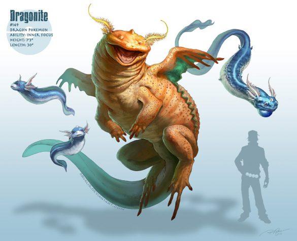 Dessin réaliste des pokemon Minidraco, Draco et Dracolosse