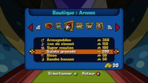 La boutique dans Worms Armageddon sur XBOX