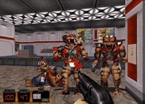 attaque d'ennemis dans duke nukem 3D