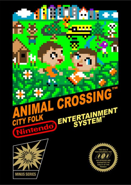 Jaquette d'Animal Crossing style 8 bits sur Nintendo NES