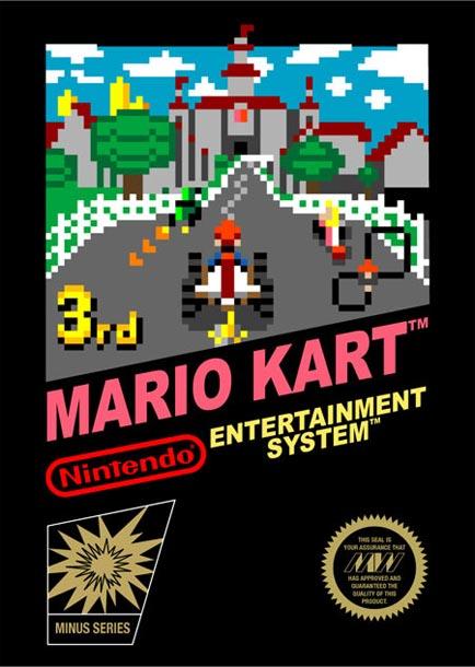Jaquette de Mario Kart style 8 bits sur Nintendo NES