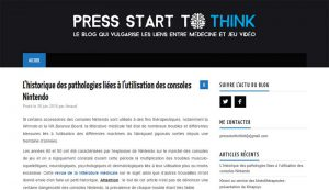 Homepage du blog PressStartToThink.fr