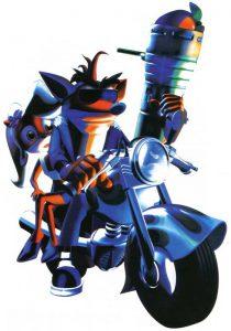 crash bandicoot avec coco sur une moto avec le bazooka