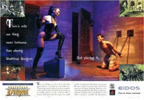 publicité magazine pour jeu deathtrap dungeon avec sado maso