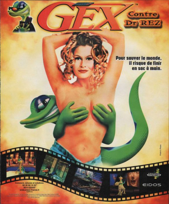 publicité sexy femme topless jeu Gex playstation