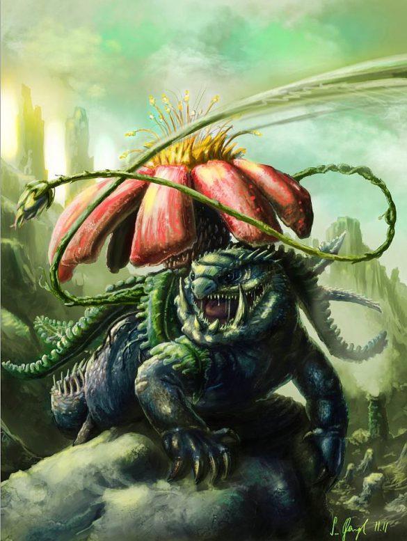 peinture réaliste du pokémon florizarre par Simon Gangl