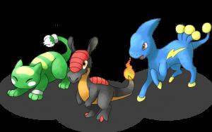Orchynx Raptorch Eletux 3 starters Pokémon Uranium