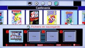 interface des fichiers de sauvegarde de la Nintendo classic mini nes