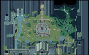 Carte des zones de titan souls avec sanctuaire foret montagne