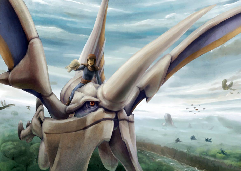 dessin a crayon du heros de panzer dragoon et de son dragon bleu