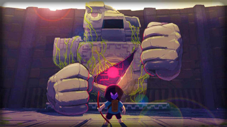 artwork officiel du jeu titan souls avec heros et titan de pierre