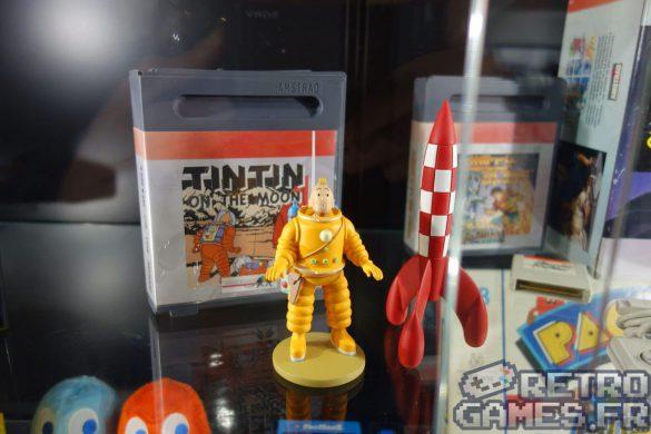 jeu vidéo japonais tintin on a marché sur la lune avec statuette collector pixel museum musée des jeux vidéo schiltigheim