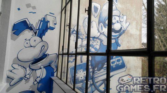 fresque graff rayman mario sous sol pixel museum musée des jeux vidéo schiltigheim