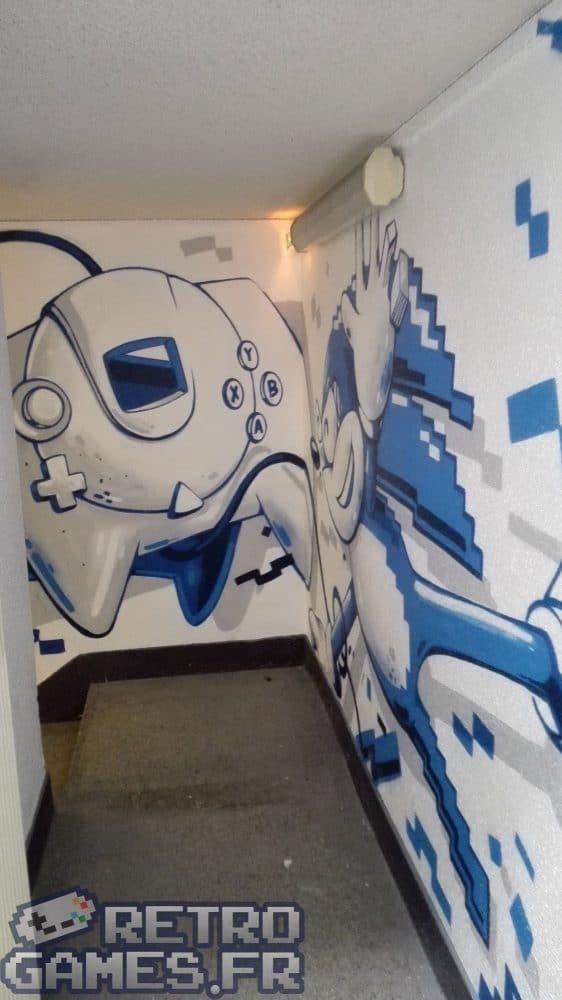 peinture a la bombe sonic dreamcast couloirs pixel museum musée des jeux vidéo schiltigheim