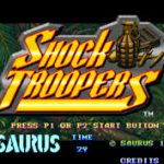 ecran titre menu du jeu video shock troopers sur neo geo mvs arcade