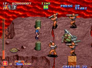 niveau volcan shock troopers 1 arcade neo gep