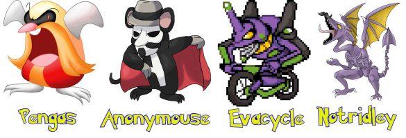 pokemons pengas robotnik anonymouse evacycle evangelion et notridley super metroid dans fan game pokemon clover