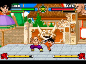 combat contre tenshinhan dans dragonball advanced adventure