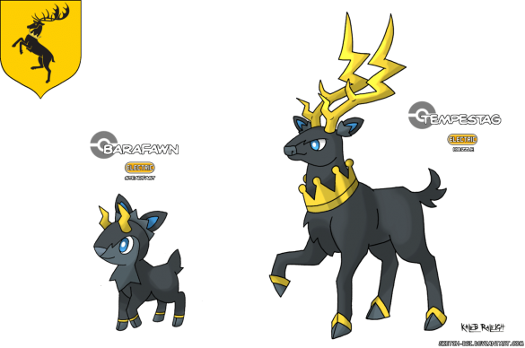 cerf maison baratheon game of thrones en version pokémon