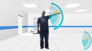 Exercice de rééducation de l'épaule avec logiciel kinapsys