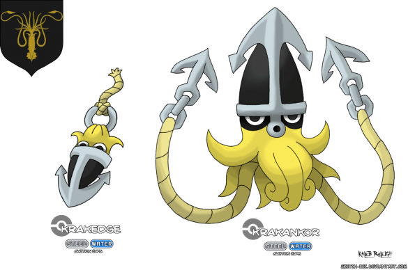 calamar maison greyjoy game of thrones en version pokémon