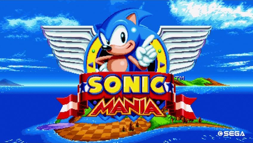 écran de démarrage du jeu sonic mania en 2d sur ps4
