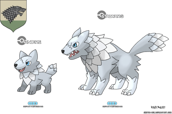 loup maison stark game of thrones en version pokémon