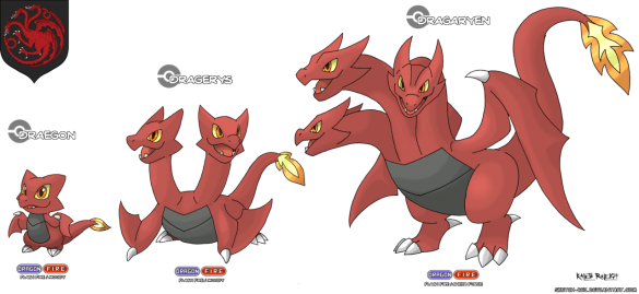 dragon trois tetes blason targaryen game of thrones en version pokémon