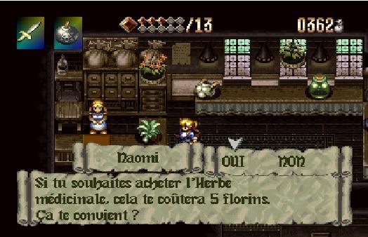 magasin de plantes dans le jeu Alundra