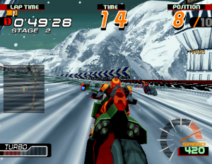 jeu de moto futuriste arcade motor raid sega model m2