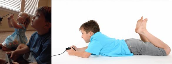 enfant couchés jouant aux jeux vidéo avec cervicales pliées