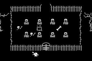 niveau du cimetière dans le jeu en noir et blanc Minit