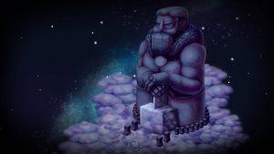 statue dieu thor dans le jeu vidéo jotun