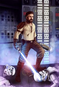 artwork de kyle katarn héros du jeu jedi knight dark forces II