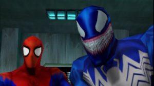 spierman et venom dans le jeu spiderman sur nintendo 64