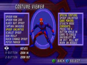 liste des costumes de spiderman dans spider-man ps1
