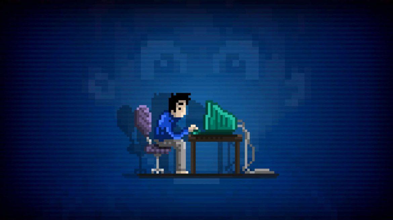 héros du jeu stay devant son ordinateur