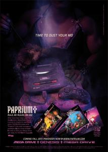 affiche retro pour la sortie du jeu vidéo paprium