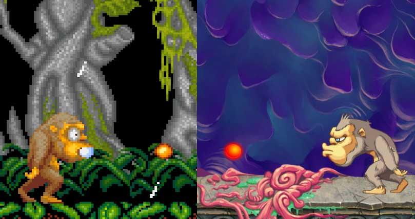 comparatif jeux toki arcade et toki remake sur switch
