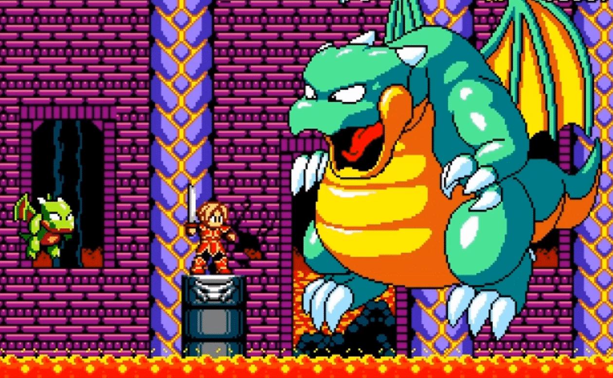 boss dragon dans jeu action 16 bits aggelos