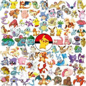 image des 151 pokémons de la 1ere generation rouge bleu jaune