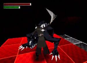 combat contre un monstre dans bloodborne PSX demake